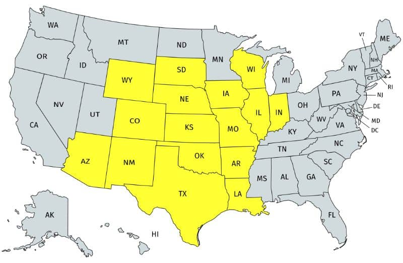Range of the Ornate box turtle in the United States.