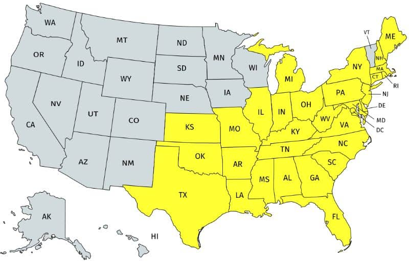 Distribution of the Eastern Box turtle in the US